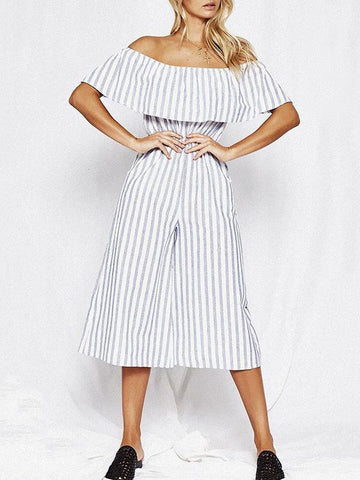 Stripes Off-the-shoulder Jumpsuit Bottoms