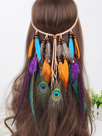 Gypsy Color Peacock Feathers Headwear Accessories