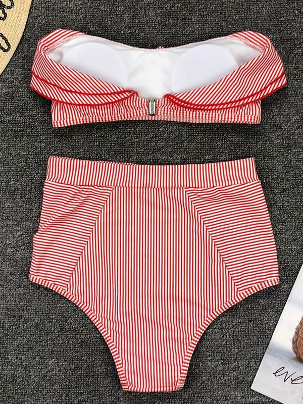 Striped Ruffled With High Waist Bikini Set