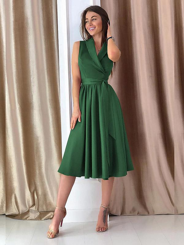 V-neck Sleeves Bandage Midi Dresses
