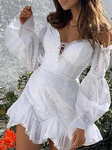 Puff Sleeve Off-the-shoulder Lace Mini Dress