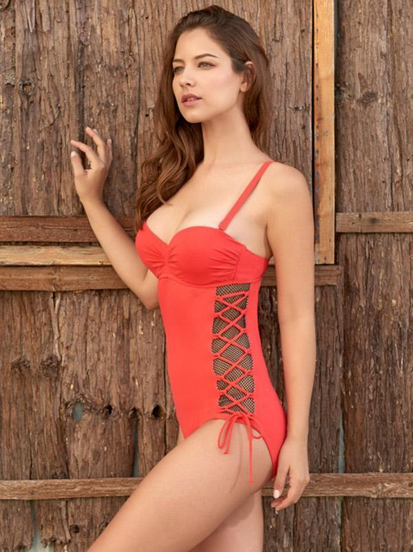 Plain Lace-up One-piece Swimwear