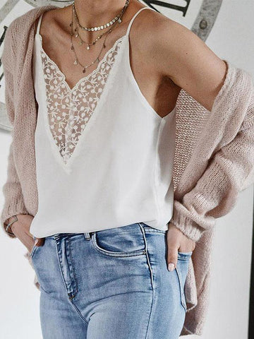 V-neck Lace Casual Blouses&Shirts Top