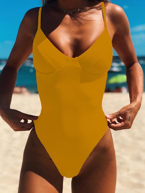 Plain Ribbed One-piece Swimwear