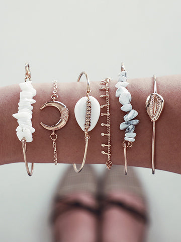 6-pieces Horn Gravel Shell Bracelet Accessories