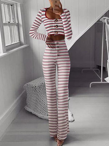 Sexy Striped Long Sleeves Large Buttons Suits