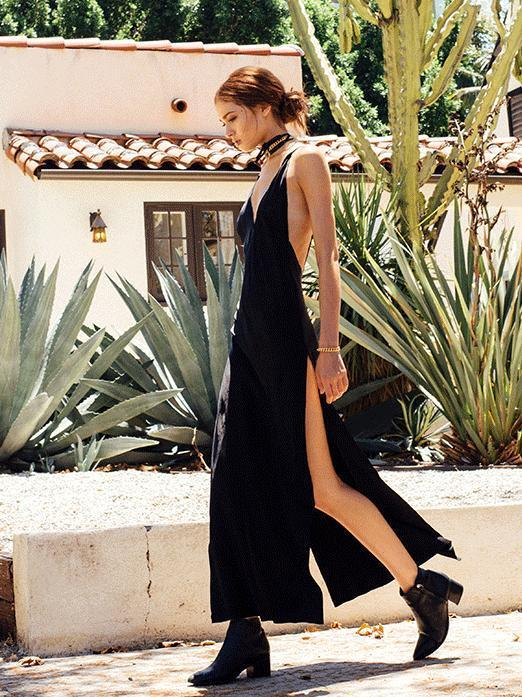 Solid Color Spaghetti-neck Backless Deep V-neck Maxi Dress