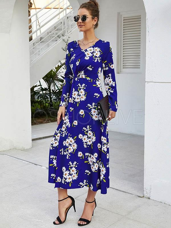 Pretty Printed Long-sleeved V-neck Dress