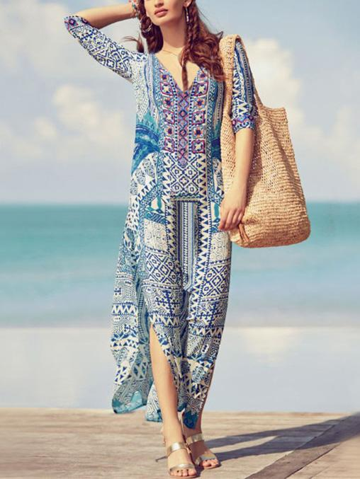 Loose Printed V-neck Cover-ups Swimwear