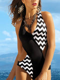 Sexy Half Black One-piece Swimwear
