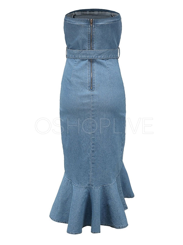 Sexy Tube Top Denim Midi Dress