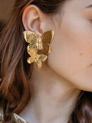 Vintage Alloy Butterfly Earrings