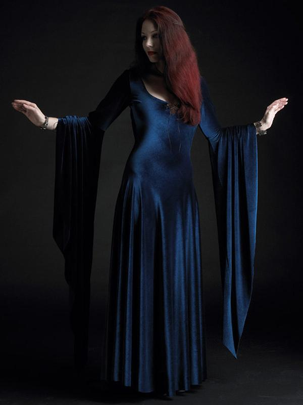 Hooded Velvet Flared Maxi Dress