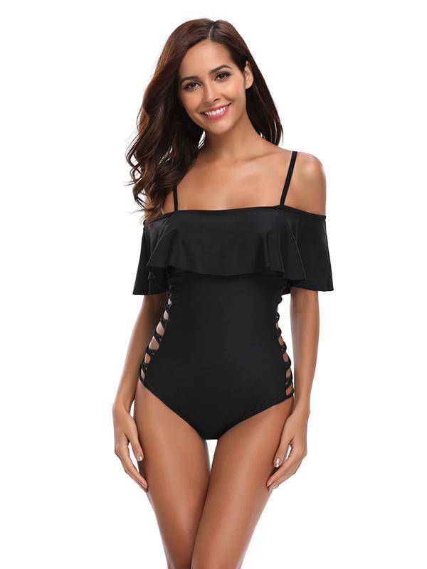 Sexy Solid Off Shoulder One-piece Swimwear