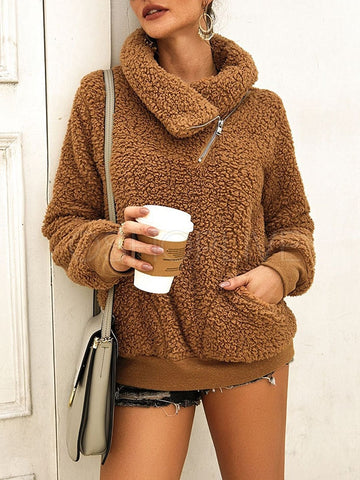 Plain Thick High-Collar Sweater