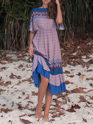 Loose Printed Ruffled Batwing Sleeves Dress