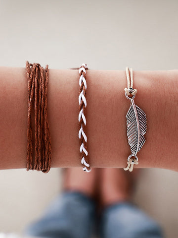 3-piecs Leaf Handmade Wire Rope Bracelet Accessories