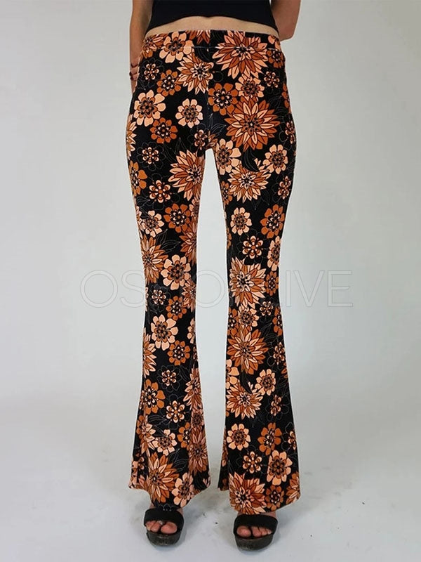 Floral Bell-Bottoms High Waist Casual Pants