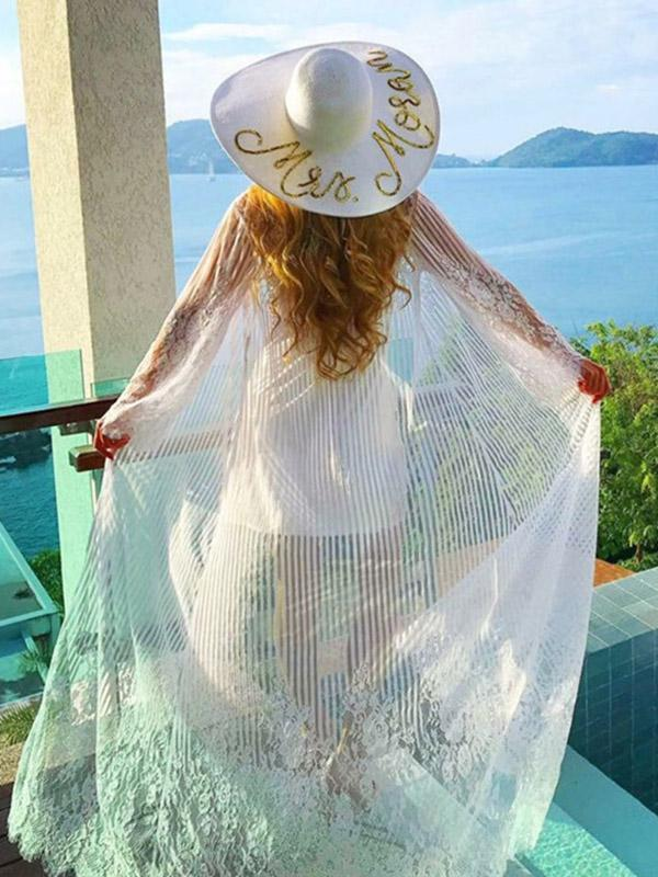 Stripes Hollow Lace-up Vacation Beach Long Cover-ups