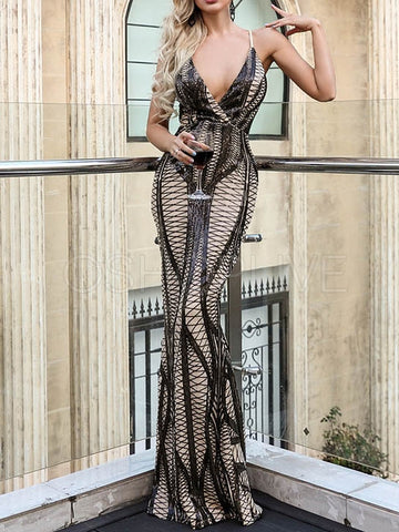 Sequined V-Neck Fishtail Evening Dress