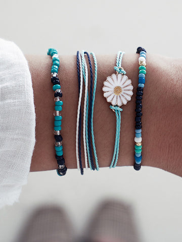Four-pieces Daisy Flower Rope Bracelet Accessories