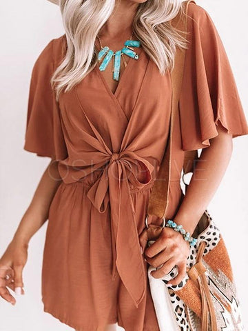 Plain Color Cross V-neck Romper