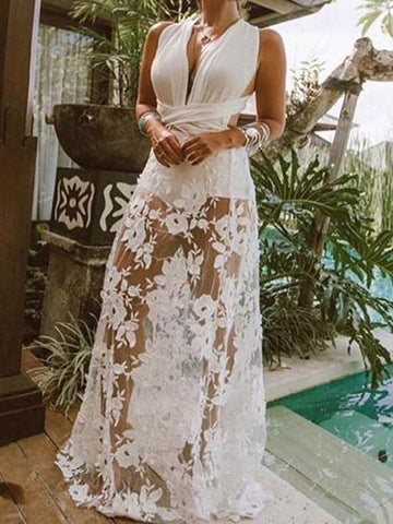 Sexy Lace Deep V-neck Maxi Dresses