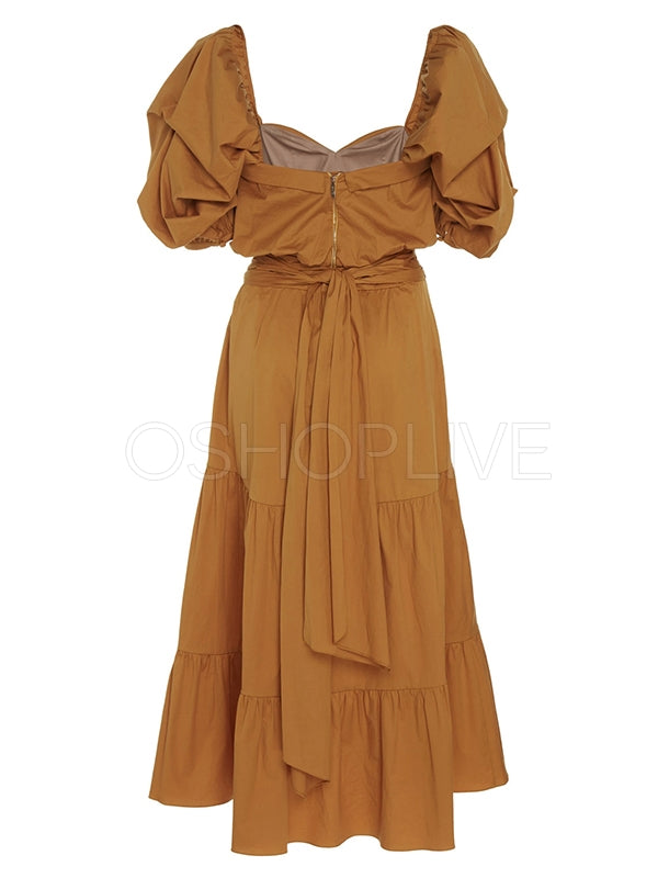 Personality Pleated Puff Sleeves Banquet Maxi Dresses