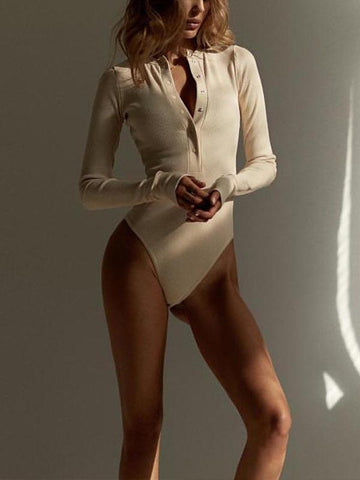 V-neck Solid Long Sleeves Jumpsuits