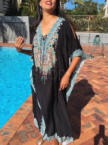 Quick-dry Floral Printed Long Beach Bikini Cover-Ups