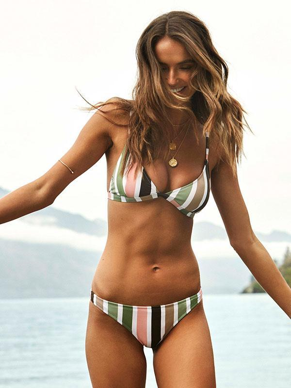 Sexy Striped Tight Bikinis Swimwear
