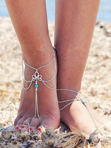 Fashion Simple Bohemia Hollow Carve Tophus Tassels Footchain Accessories