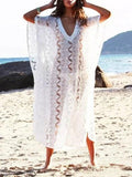 Printed Lace V-Neck Plus Size Cover-Ups Swimwear