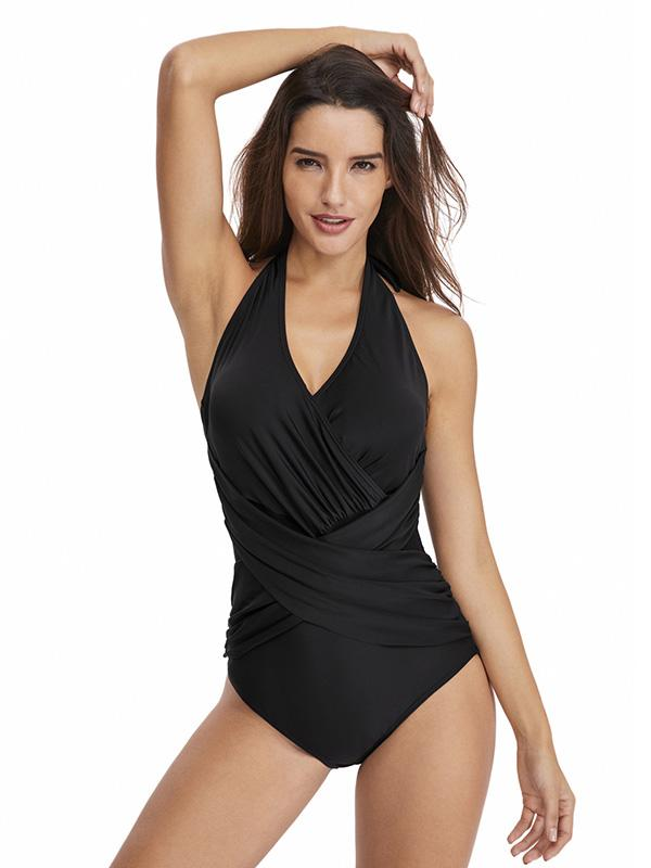 Plain Black Halter-neck One-piece Swimwear