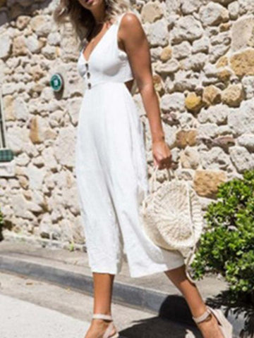 V-Neck Wide Leg Jumpsuits Bottoms