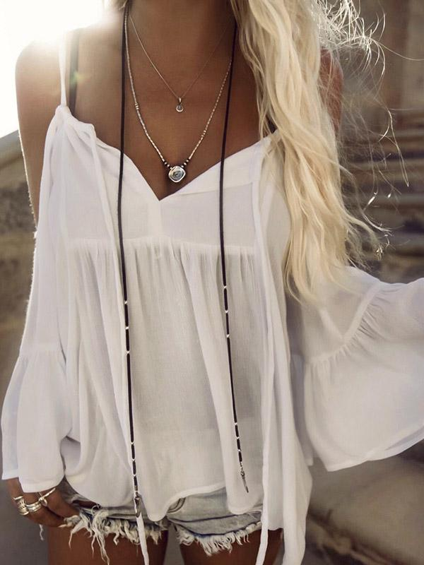 Sexy Spaghetti-neck Flared Sleeves Cover-up Swimwear