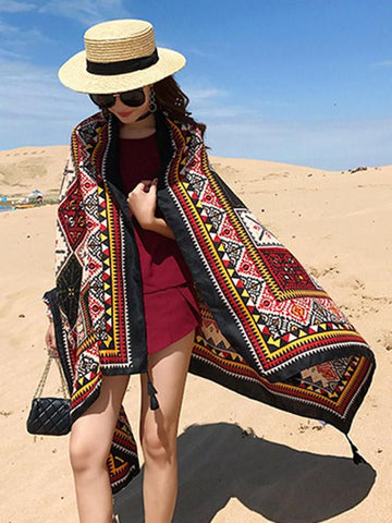 Ethnic Style Print Sunscreen Shawl