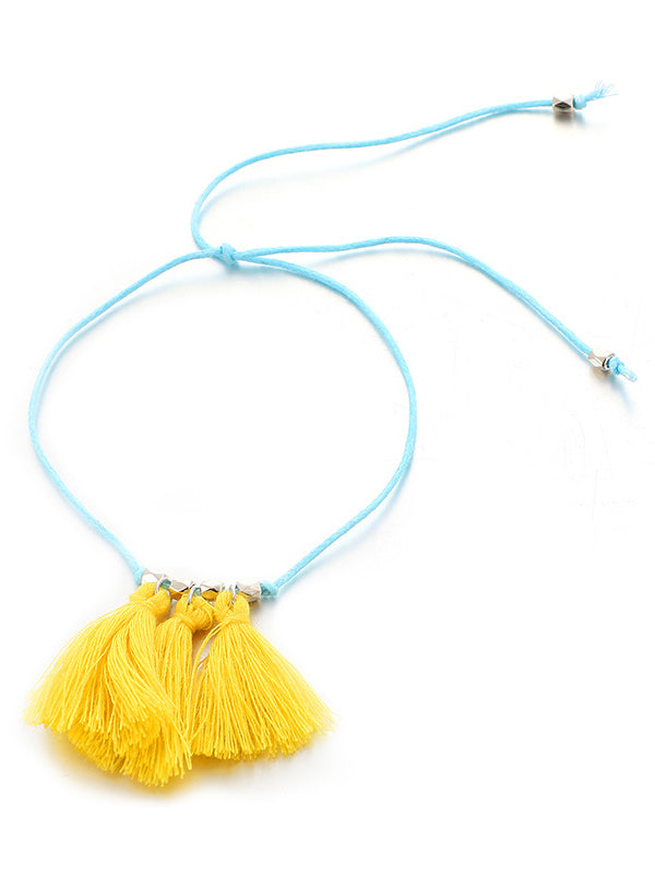 Woven Color Tassel Multi-layered Footchain Accessories