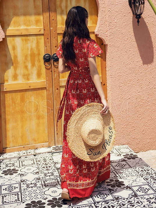 Thailand Desert Vacation Printed Maxi Dresses