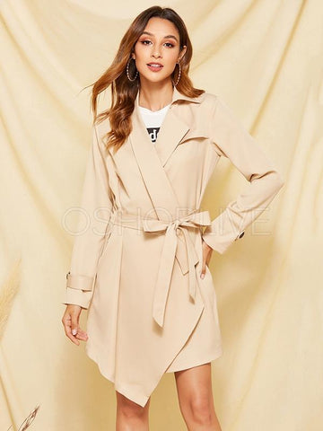 Plain Color Commuter Trench Coat