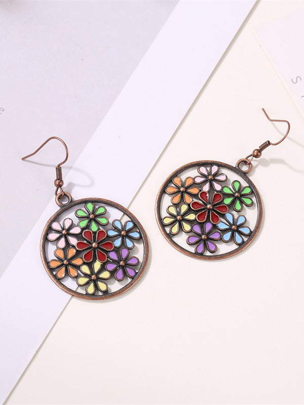 Colorful Flowers Hollow Earrings