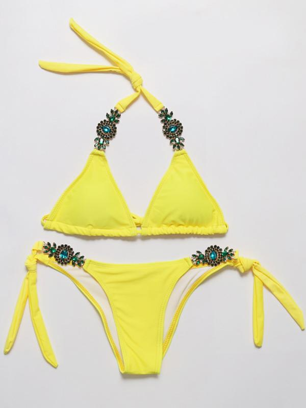 Solid Color Imitated Crystal Decorated Bikinis Swimwear