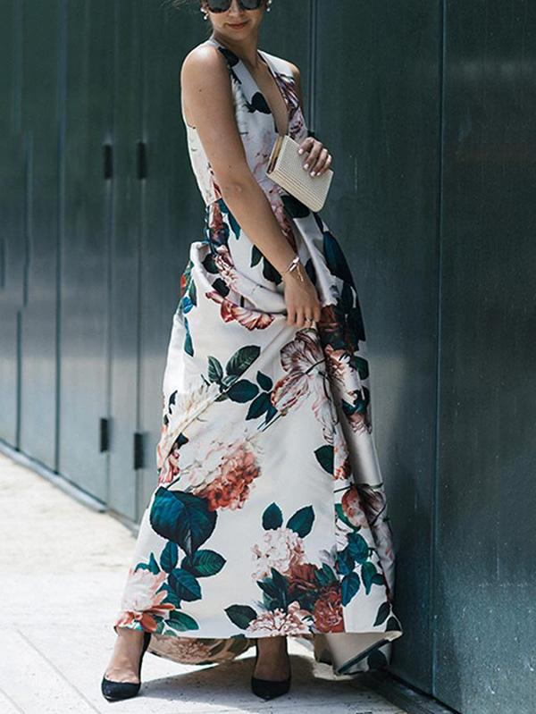 Floral Deep V neck Maxi Dress