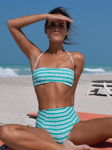 Striped Print Bikini Swimsuit