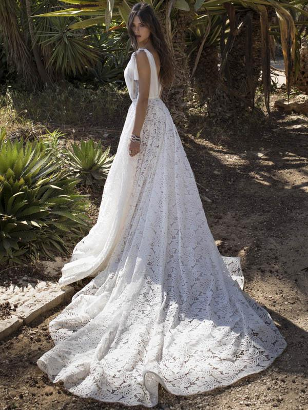 Deep V-neck Tasseled Waisted Bohemia Wedding Dress