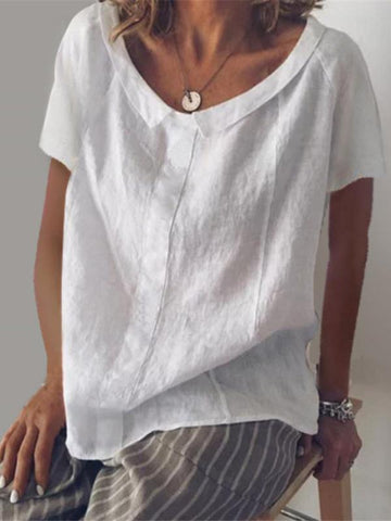 Casual Solid Round-neck T-shirt
