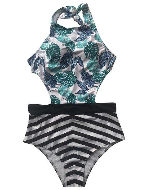 Leaf Striped High Cut One-piece Swimsuit