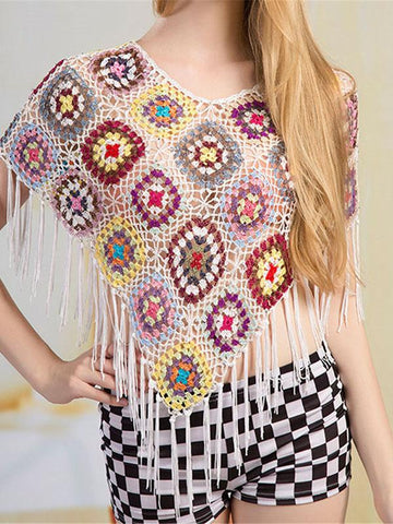 Knitting Hollow Tassels Cover-Ups