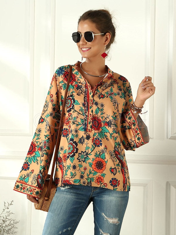 Peacock Printed Loose Stand Collar Shirt