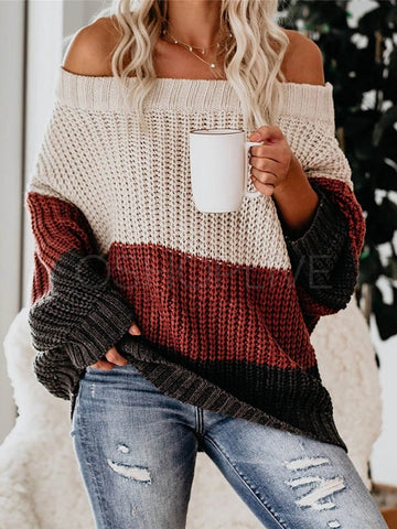 Stitching Color Loose Sweater
